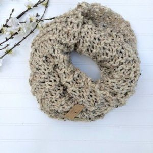 Northern Loop Oatmeal Loose Weave Infinity Scarf